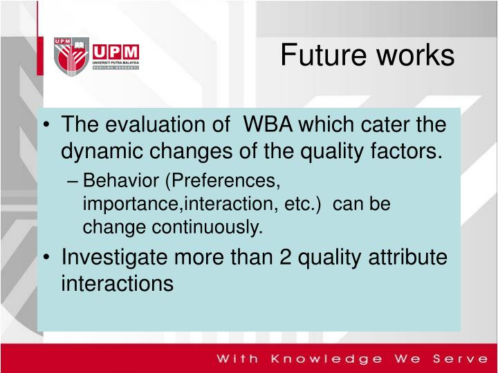 The evaluation of  WBA which cater the dynamic changes of the quality factors.