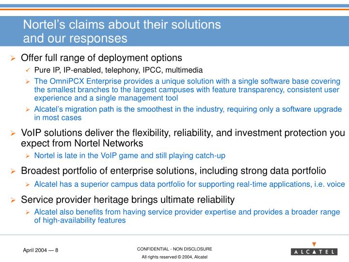 Nortel's claims about their solutions