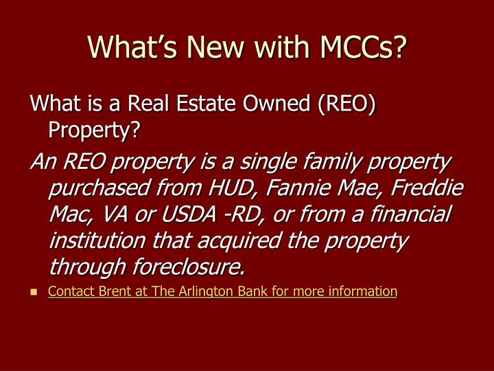 What's New with MCCs?