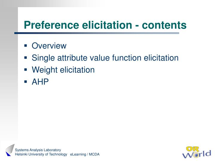 Preference elicitation - contents