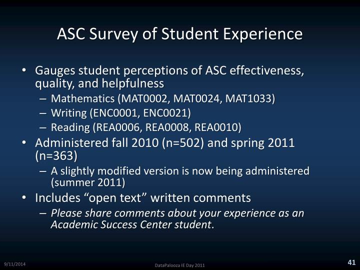 ASC Survey of Student Experience