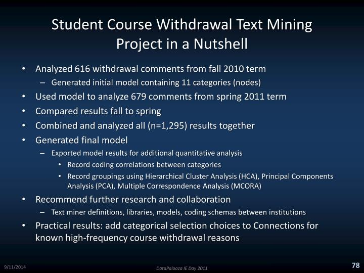 Student Course Withdrawal Text Mining