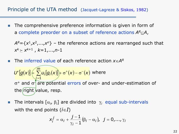 Principle of the UTA method
