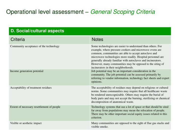 Operational level assessment –