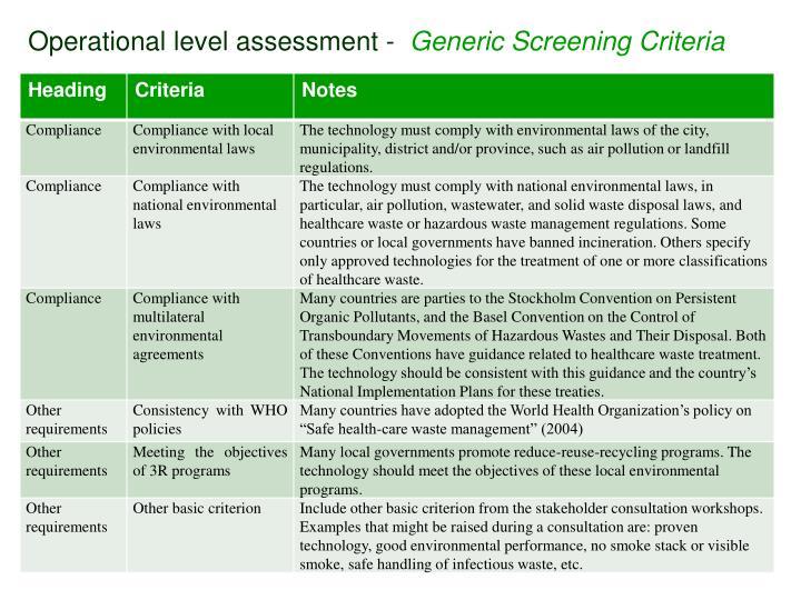 Operational level assessment -