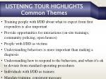 listening tour highlights common themes