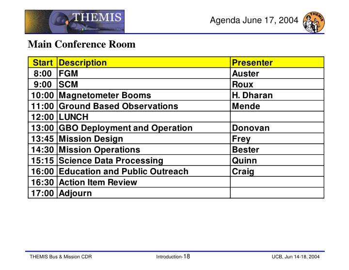 Agenda June 17, 2004