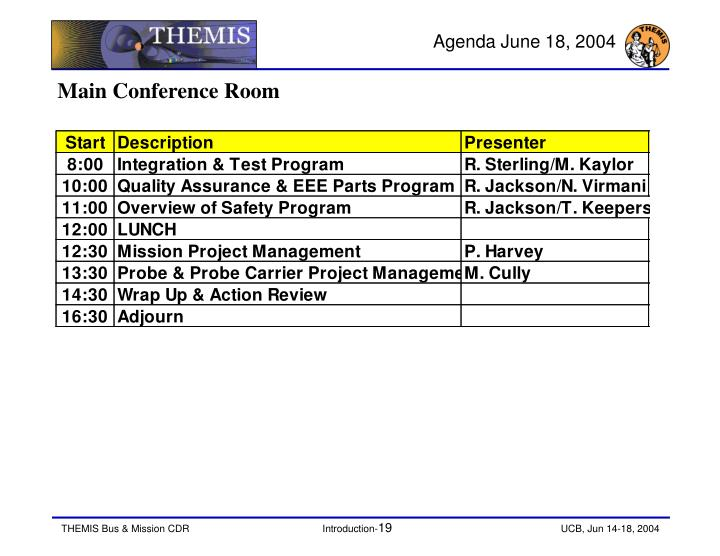 Agenda June 18, 2004