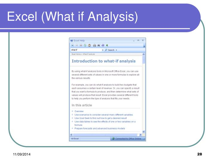 Excel (What if Analysis)