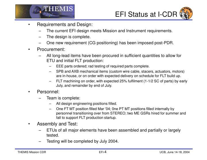 EFI Status at I-CDR