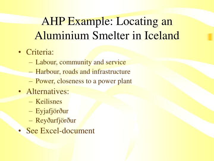 AHP Example: Locating an Aluminium Smelter in Iceland