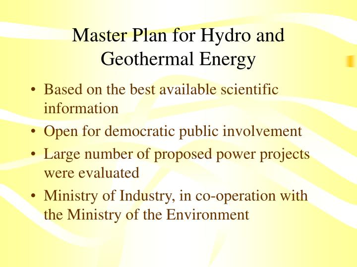 Master Plan for Hydro and Geothermal Energy