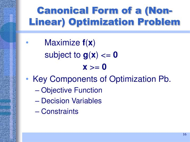 Canonical Form of a (Non-Linear) Optimization Problem