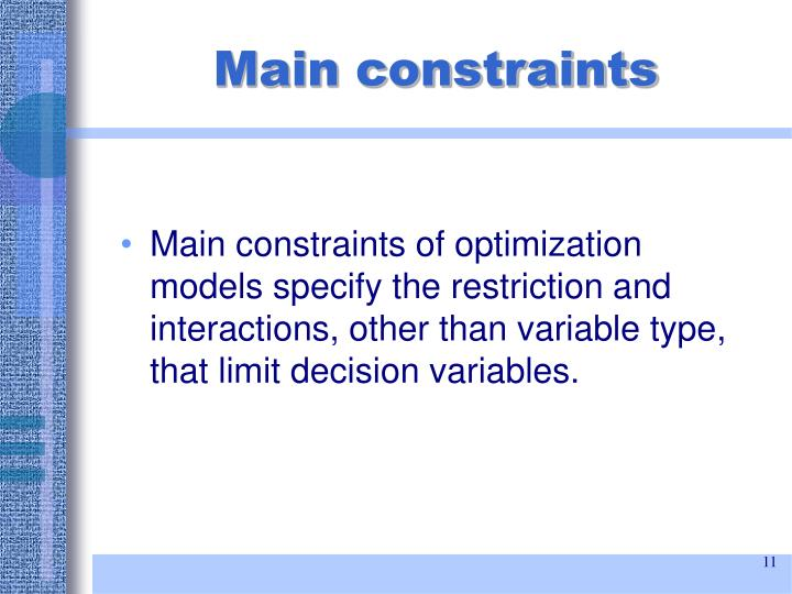 Main constraints
