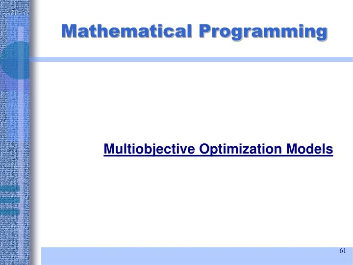 Multiobjective Optimization Models