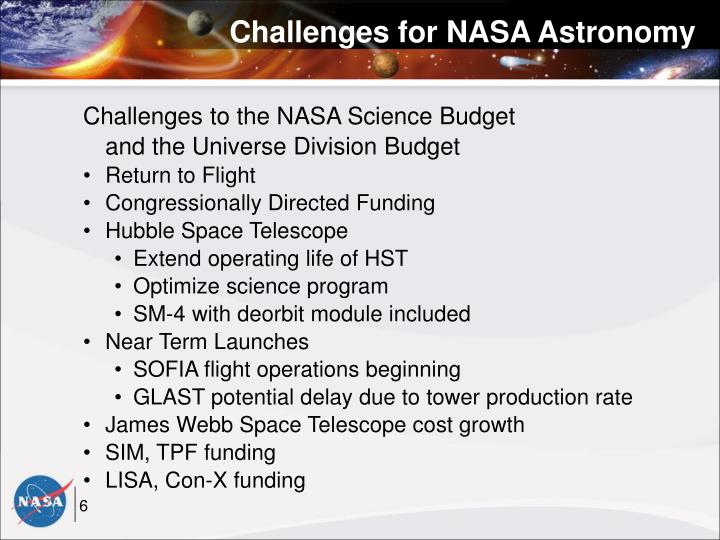 Challenges for NASA Astronomy