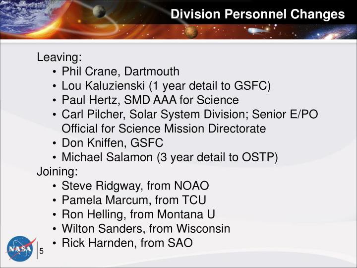 Division Personnel Changes