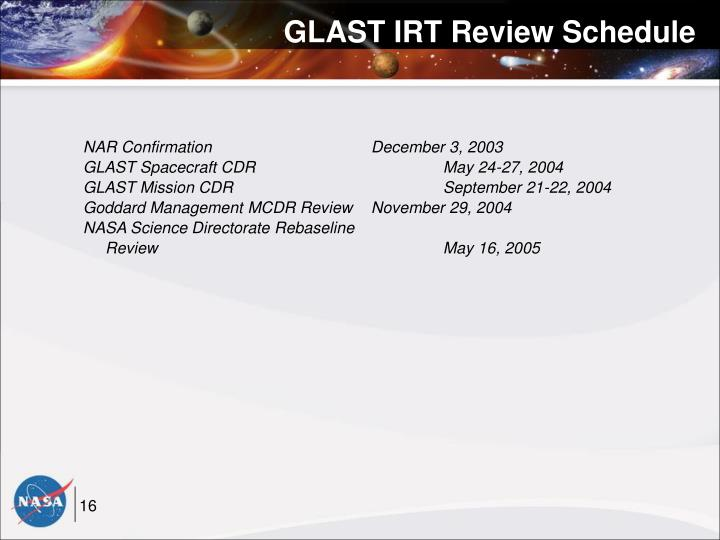 GLAST IRT Review Schedule