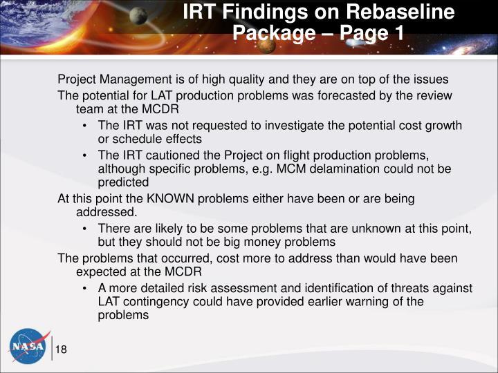 IRT Findings on Rebaseline Package – Page 1