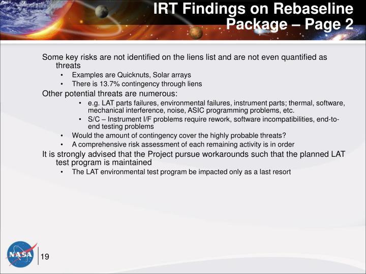 IRT Findings on Rebaseline Package – Page 2
