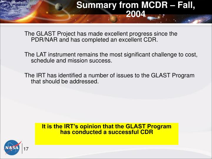 Summary from MCDR – Fall, 2004