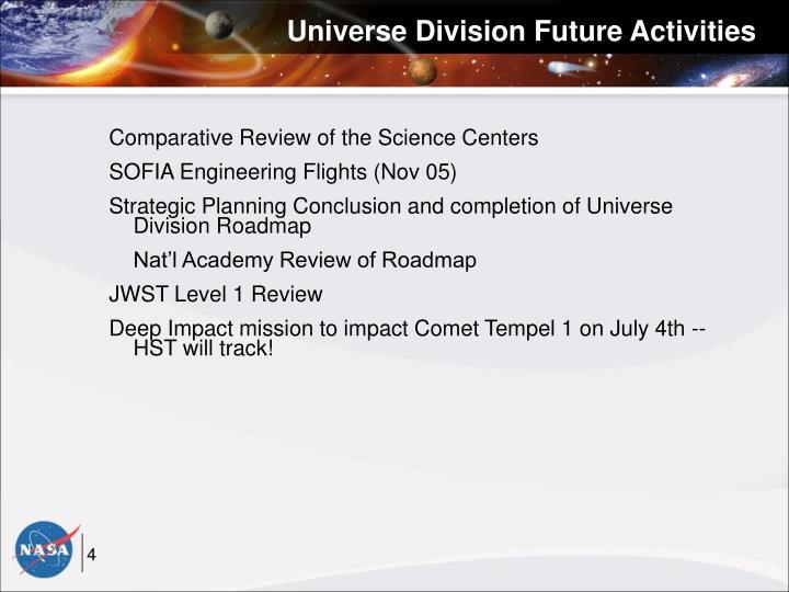 Universe Division Future Activities
