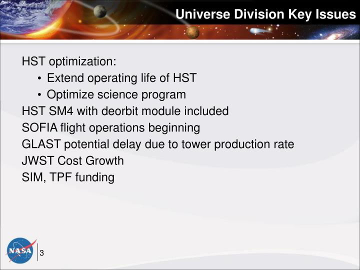 Universe Division Key Issues