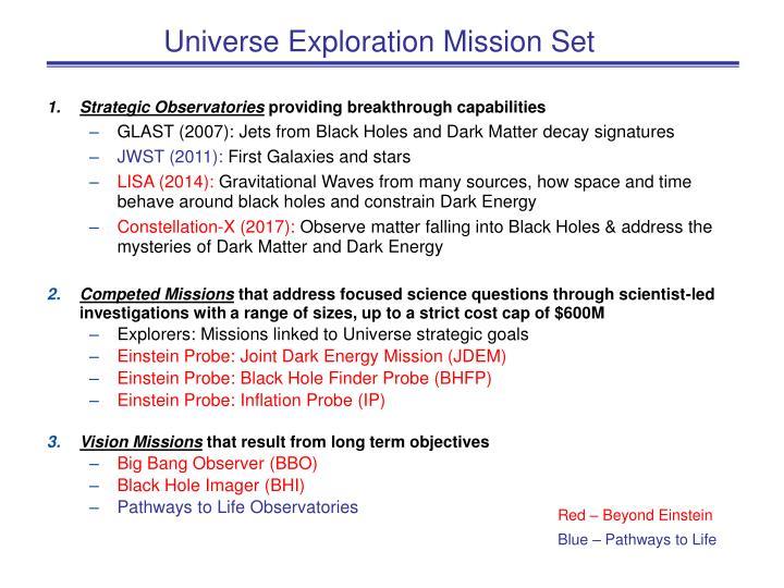 Universe Exploration Mission Set