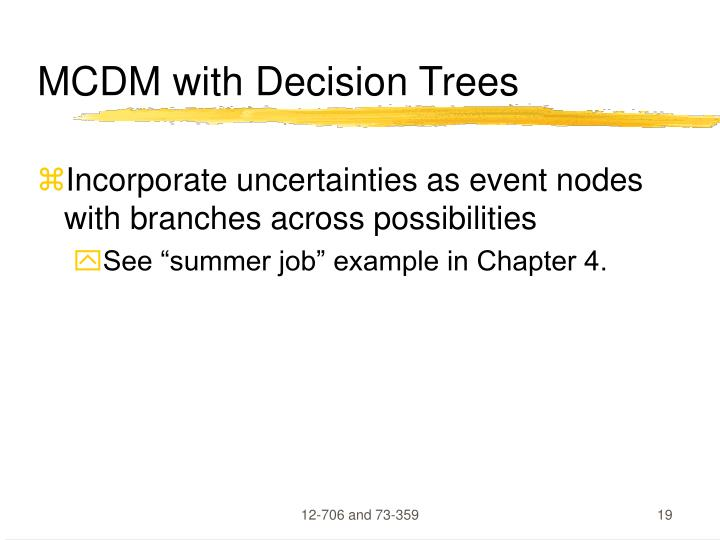 MCDM with Decision Trees
