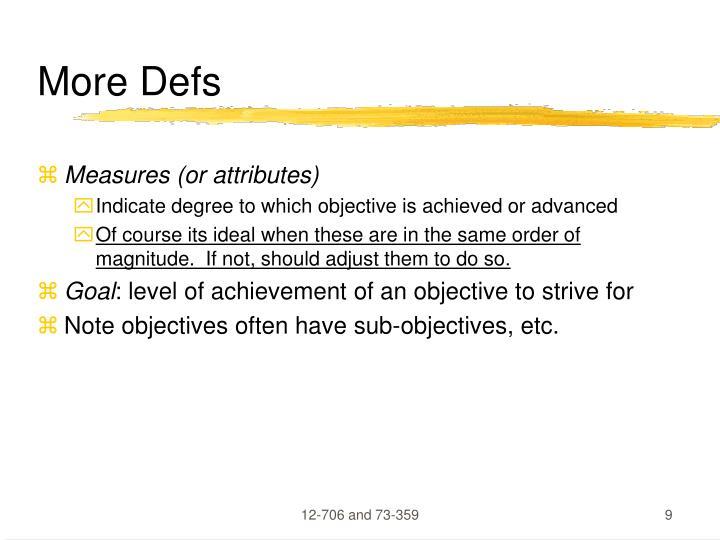 More Defs
