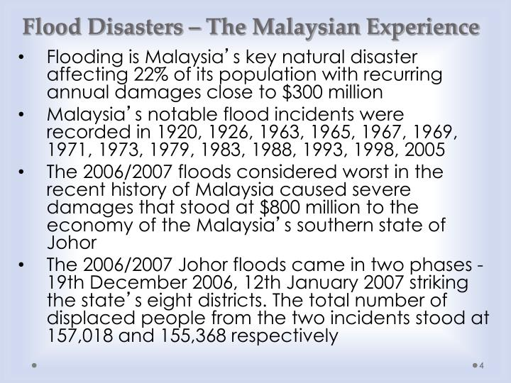 Flood Disasters – The Malaysian Experience