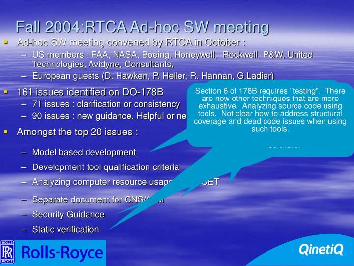 Fall 2004:RTCA Ad-hoc SW meeting