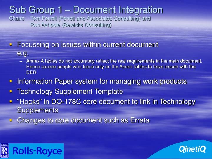 Sub Group 1 – Document Integration