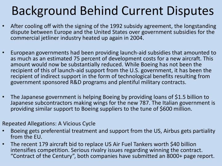 Background Behind Current Disputes