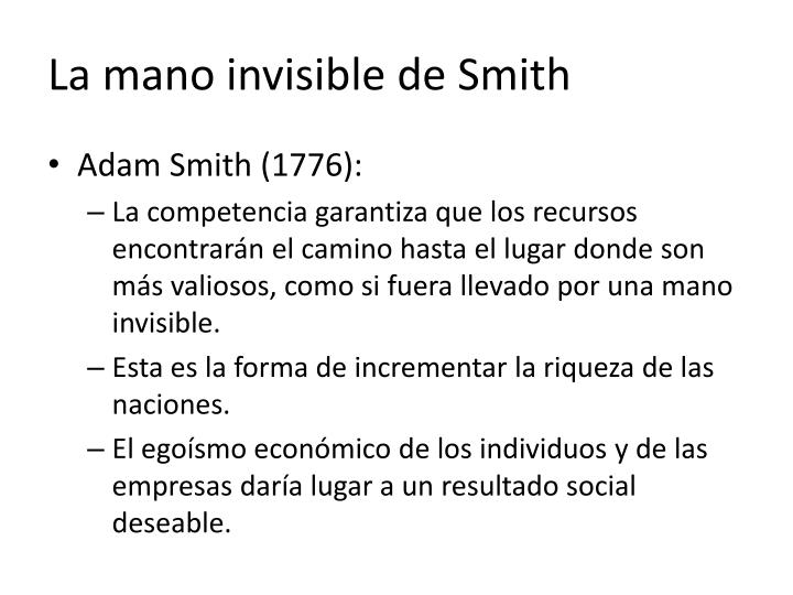 La mano invisible de Smith
