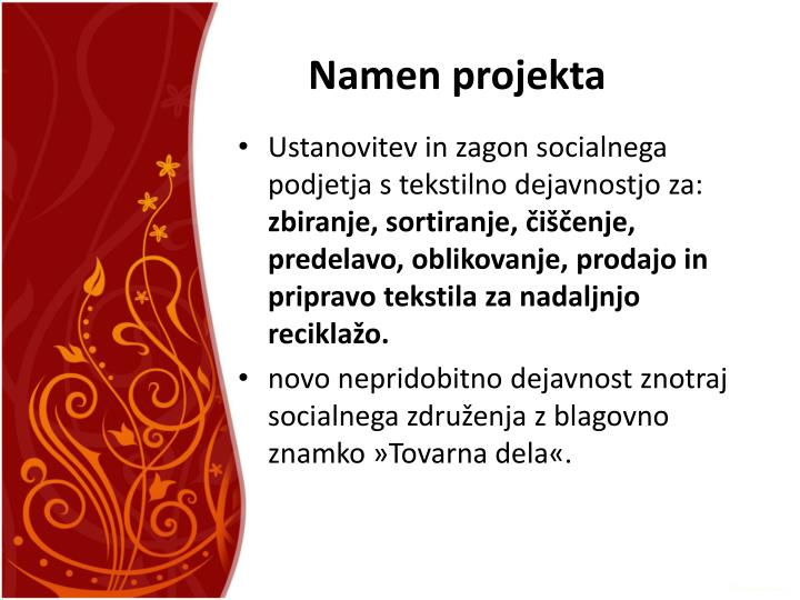 Namen projekta