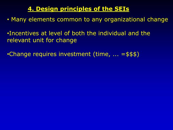 4. Design principles of the SEIs