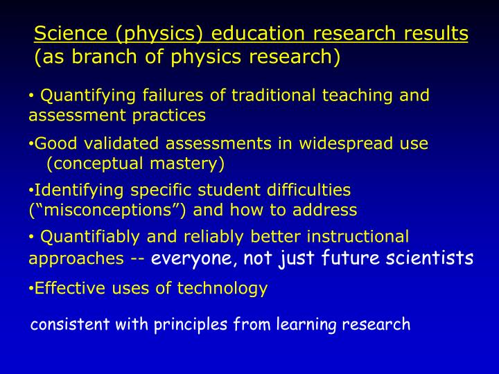 Science (physics) education research results