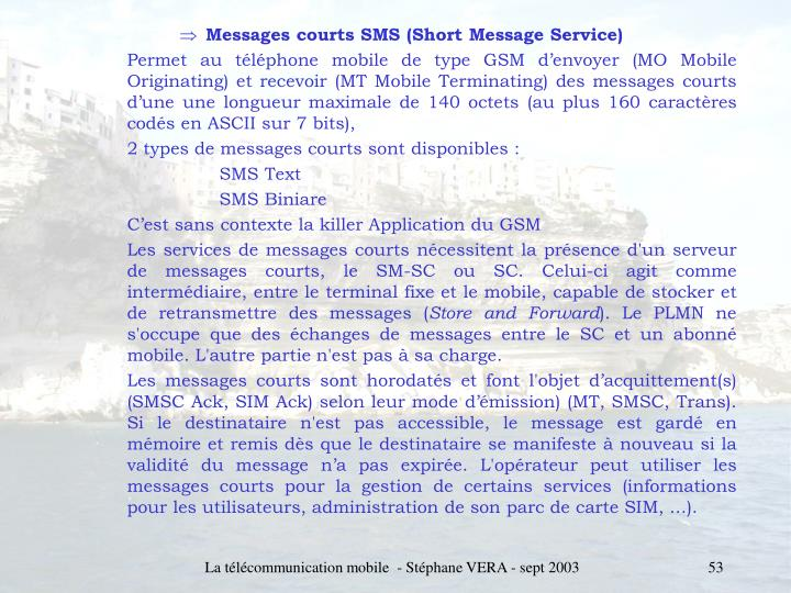 Messages courts SMS (Short Message Service)
