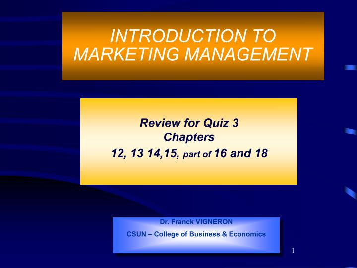 Introduction to marketing management