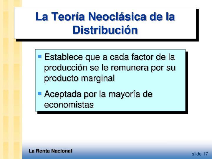 La Teoría Neoclásica de la Distribución