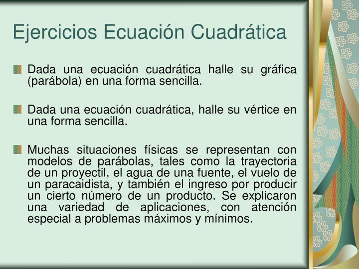 Ejercicios Ecuación Cuadrática