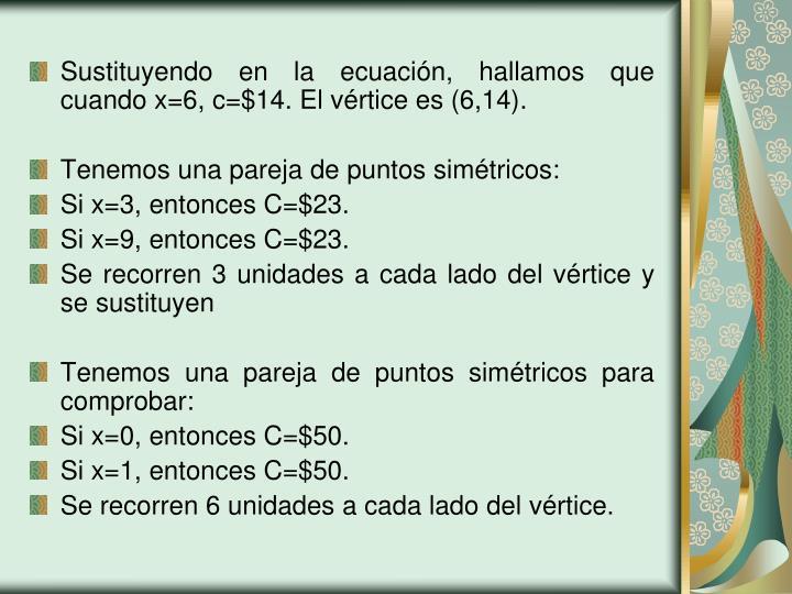 Sustituyendo en la ecuación, hallamos que cuando x=6, c=$14. El vértice es (6,14).