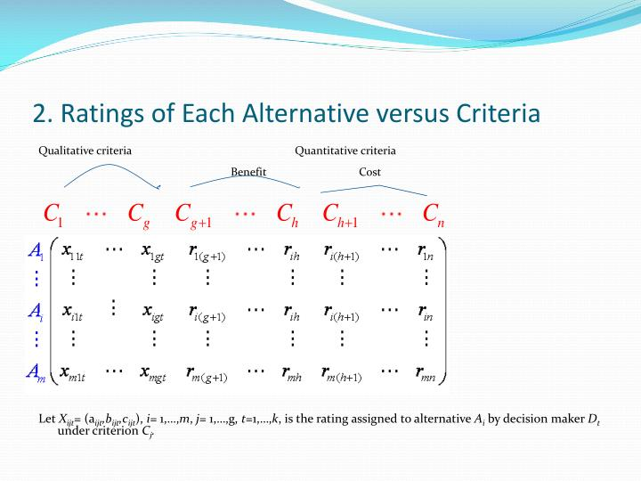 2 ratings of each alternative versus criteria