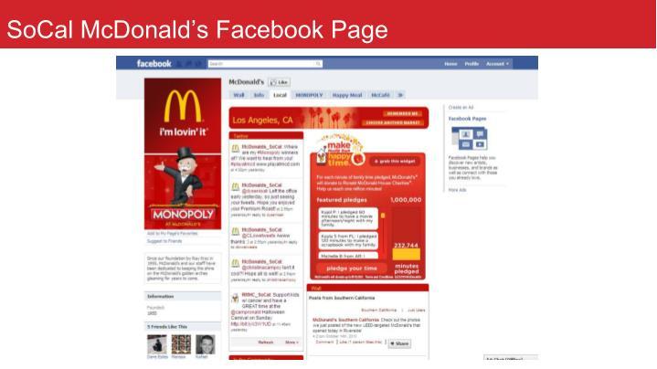 SoCal McDonald's Facebook Page