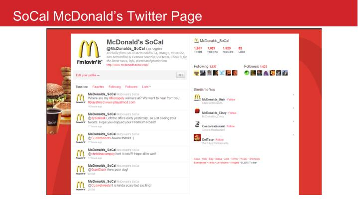 SoCal McDonald's Twitter Page