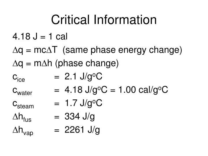 Critical Information