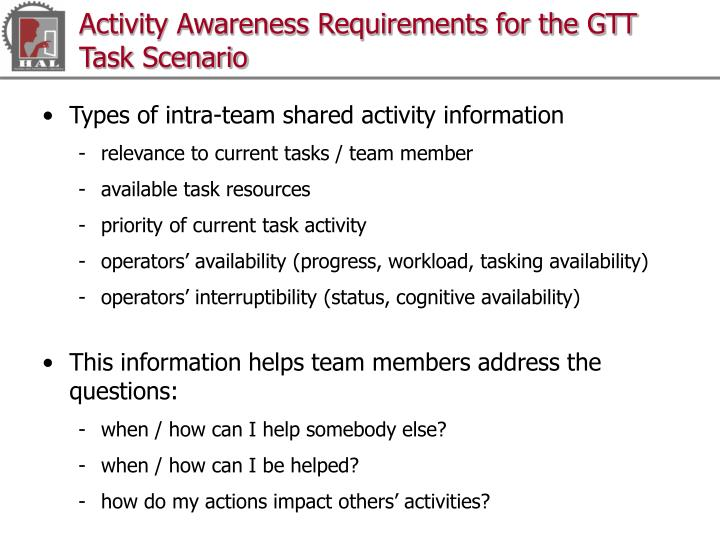 Activity Awareness Requirements for the GTT