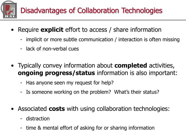 Disadvantages of Collaboration Technologies