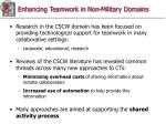 enhancing teamwork in non military domains
